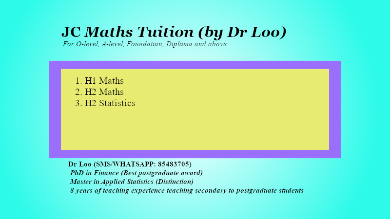 JC Math Tuition Singapore