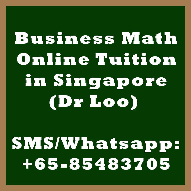 Business Mathematics Online Tuition Singapore