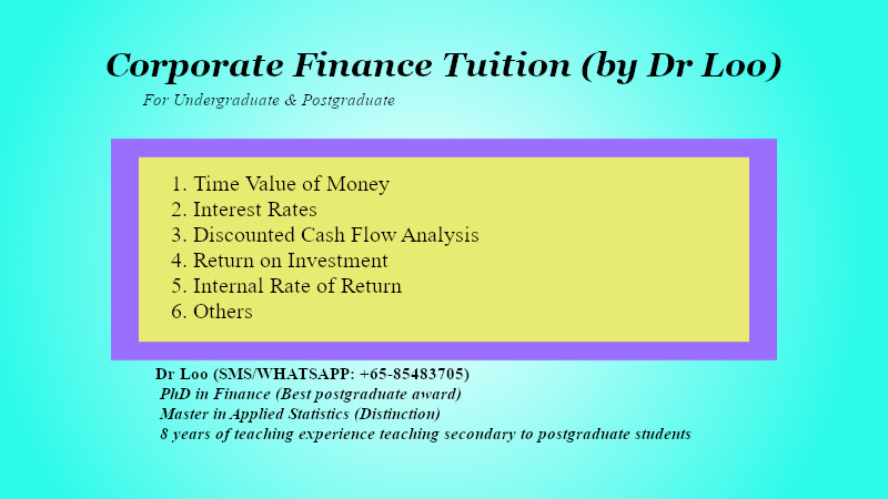 Corporate Finance Tuition in Singapore