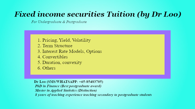Fixed income securities tuition Singapore