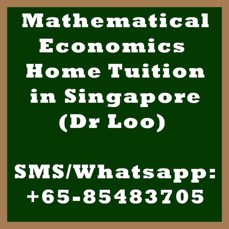 Mathematical Economics Home Tuition Singapore