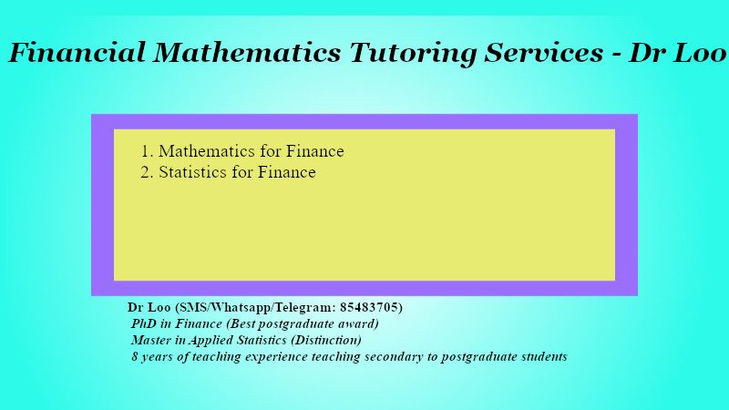 Mathematics & Statistics for Finance Tuition in Singapore