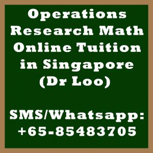 Operations Research Online Tuition Singapore