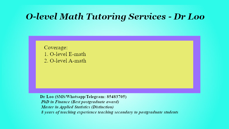 O-level Math Tuition Class in Singapore
