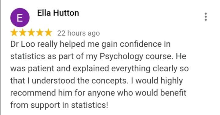 Reviews Statistics Tuition from student
