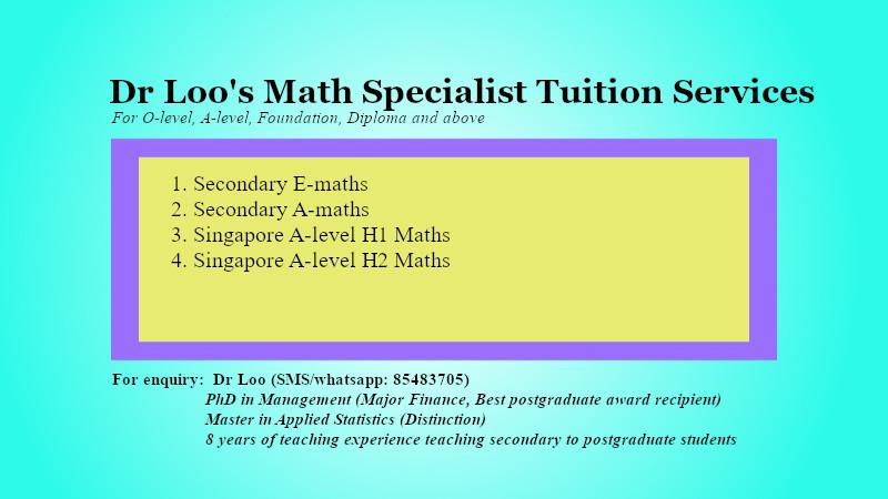 Singapore A-level JC1 H1 H2 Math Tuition