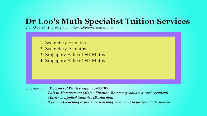 Singapore A-level JC2 H1 H2 Math Tuition