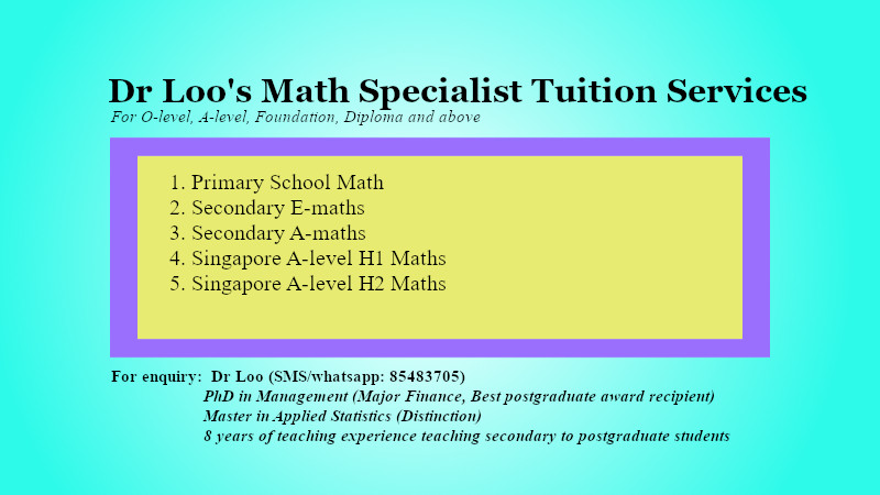 Singapore Primary One Math Tuition Services